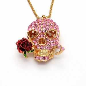 Jewelry - Pink Crystal Skull Rose Goth Flower Necklace